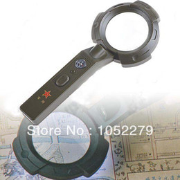Wholesale Free shiping Army Style LED Illuminated mm x Magnifier Magnifying Glass Loupe Torch Compass HUI