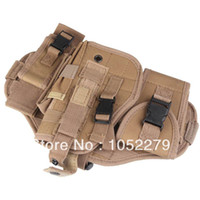 Wholesale Free shiping Tactical Modularized Component Detachable Thigh Leg Airsoft Pistol Gun Holster with Small Pouches HUI