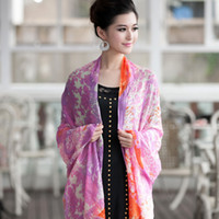 Cheap 2012 200 yarn ultrafine cashmere print scarf thermal cape peony