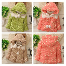Wholesale Adorable Girls Hooded Fluffy Fleece Warm Outwear Trench Coats Kids Clothes Polka Dots Hooded Jacket Child Dot Jackets Coats D1373