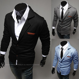Wholesale 2013 Autumn New Arrival Fashion turn down collar leather slim knitted male blazer men s jackets men suit mens coat