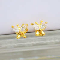 Charm Purple Bohemian Japanese and Korean pop style exquisite small butterfly earrings inlaid zircon gold plated super flash diamond full three shipping