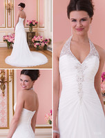 Wholesale Charming stunning a line halter chapel train white chiffon lace top beach wedding dresses low back garden wedding gowns sexy bridal dresses