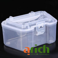 Wholesale Plastic Live Earthworm Fishing Tackle Box Bug Shrimp Bait Box for Fishing Color Assorted