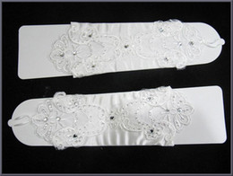Wholesale 2014 Spring Rhinestones Beaded Stain Embroidery Lace Fingerless Below Elbow Length Princess Evening Party Wedding Accessories Bridal Gloves