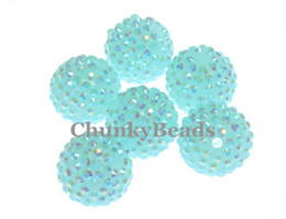 Wholesale Chunky MM Jelly Aquamarine Blue AB Resin Rhinestone Round Ball Beads Bubblegum Necklace Beads Jewelry bag