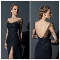 Reference Images modern dresses - Zuhair Murad Long Sleeves Evening Dresses Split Side Formal Gowns Backless Beaded Sexy Neck Prom Gowns