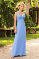 Reference Images Chiffon Pleat, Panel 2014 New Arrival Junior Bridesmaid Dresses Light Sky Blue A-Line Spaghetti Floor-Length Evening Gowns Panel Pleat Ruffle Dress Chiffon Gown