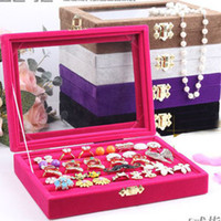 Wholesale Ring Storage Box colors choose Fashion vintage jade Bangle Bracelets Ring stud plug Velvet jewellery display case Tray with cover