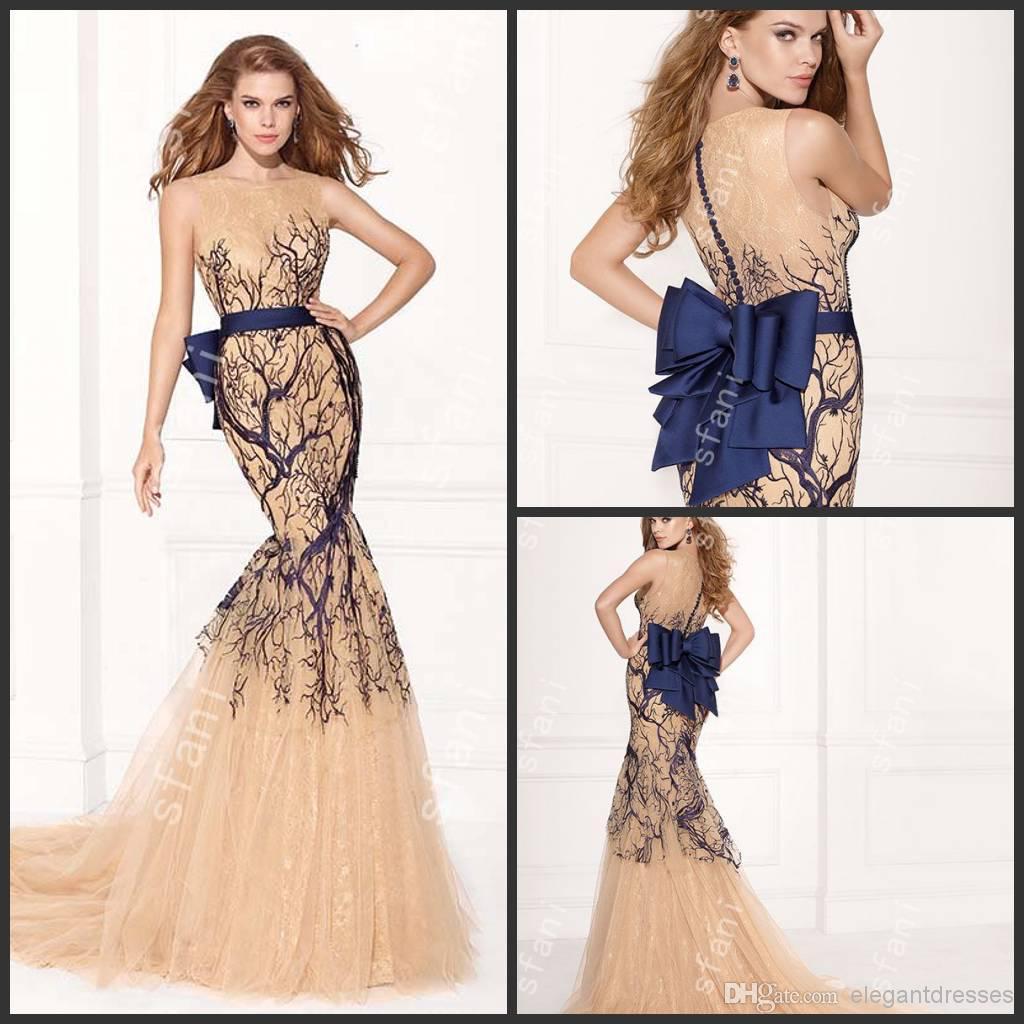 Designer 2014 New Elegant Illusion Neckline Sheer Nude Evening ...