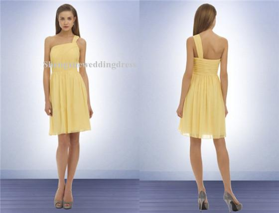 One shoulder short mini chiffon pleated zipper back for Funky wedding guest dresses