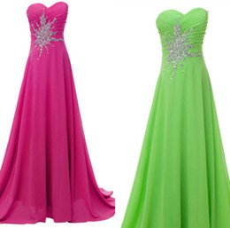 Wholesale Stock Hot pink Lime green Long Prom Dresses Chiffon Beading Stone Party Bll l Formal Gowns Evening Dresses Size