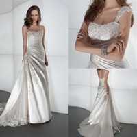 Elegant 2014 A Line Wedding Dress Strapless Cap Sleeves Plea...