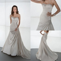 Atractive 2014 A Line Wedding Dress Strapless Sleeveless Bod...