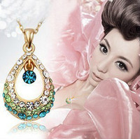 Wholesale HL04707 Angel Crystal Tears Hollow Rhinestone Color Stone Water Droplets Necklace colors