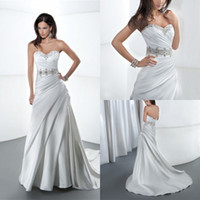 Magical 2014 A Line Wedding Dress Strapless Sleeveless Bodic...