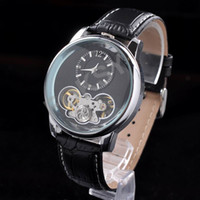 Wholesale 2014 Luxury Watch High Quality Tourbillon Black Leather Mens Self wind Mechanical Watch Automatic Factory Direct