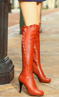 Wholesale over knee natrual genuine leather flat boots women snow winter warm boot shoes CooLcept R1845 EUR size