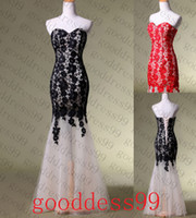 Wholesale Stock Black Red Lace Mermaid Long Prom Dresses Evening Formal Gowns Size2