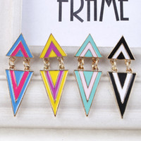 Wholesale newKorean jewelry double spell color color geometric triangle drip movable earring stud earrings woman010