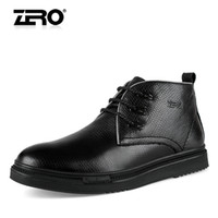 Wholesale Zero winter wool thermal cotton padded shoes male high boots genuine leather fashionable casual leather