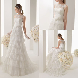 Wholesale Scoop Neck Tiered Lace Skirt Floor Length Elegant Wedding Dresses With Flower Sash Bridal Gowns