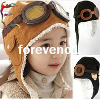 Wholesale New Fashion Kids Winter warm cotton Bomber Hats Cap Earflap glasses Pilot Cap boy girl Childs Hats Cap RJ1823