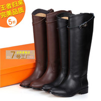 Wholesale boots women designer EURO Fashion Genuine Leather Buckle Strap Women Knee High Flat motorcycle Knight Boots size42