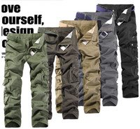 Wholesale 2014 Fashion New men pant Men s Slim fit cotton Many pockets washed Straight pants Casual pants army green Cargo Pants
