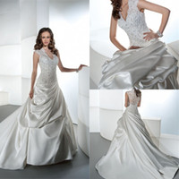 Hot Sale! Romantic 2014 A Line Wedding Dress V Neck Sheer La...