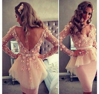 Reference Images V-Neck Lace 2014 Myriam Fares Cocktail Dresses V-Neck Appliqued Open V Back Backless Sheer Long Sleeves Sheath With Peplum Short Prom Gowns 1218B