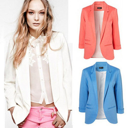 Wholesale Women Blazers Fashion brand Coat Jacket Lady plus size Seven Sleeve Solid Suits XXL W4299