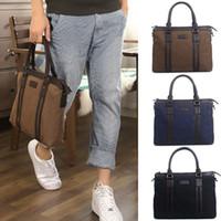 Wholesale PJ Korean Men s Cotton Canvas Shoulder Bag Tote Briefcase Laptop Bag GZ609