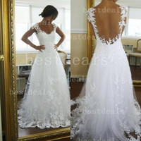 2014 Wedding Dresses A- line V Neck Sheer Panel Back Court Tr...