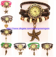 Wholesale Fashion Women Leather Vintage Retro Watch bracelet Dress Leaf Wing starfish Key Butterfly Pendant Owl Heart Watches