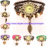 Wholesale Cheaper Fashion Women Leather Bracelet Watch Retro Watch Starfish Butterfly Owl Vintage Watches different styles same prices