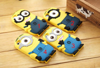 Wholesale 3D Cute Minions Despicable Me2 Cover Case Protector Soft Silicone Cartoon Back Cover Smile Big Eye minions for iphone S S Blue Color