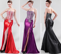Sexy Strapless Slit Front Prom Dresses Ball Gown Evening Sil...