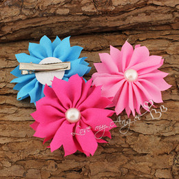 Wholesale Trial order chiffon fabric flower hair clips with peal center baby products girl hair Accessories
