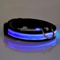 Wholesale 10pcs New Pet Dog Nylon Plain Safe Night LED Flashing Adjustable Light Collar WX59