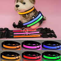 Wholesale New Pet Dog Nylon Plain Safe Night LED Flashing Adjustable Light Collar WX59
