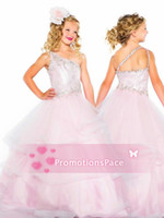 Reference Images Girl Applique 2014 Hot Cute One Shoulder Pink Organza Flower Girl Dresses Crystal Beaded Tiered Top Ball Gown Little Girls Pageant Gowns 64843S