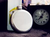 al por mayor matraz de acero redondo-Moda caliente 5 oz redonda de acero inoxidable de la cadera ventana de oro tono licor contenedor