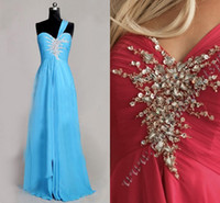 Wholesale Elegant chiffon hunter evening prom dresses A line floor length one shoulder backless bridesmaid dresses with sequins and beads NM6203
