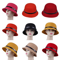 Wholesale Wool Cloches Bucket Hat Top Caps Bowler Derby Hat Vintage Fashion Ladies Women s Black Belt Wool Felt Round Tops Solid Colors DLZ