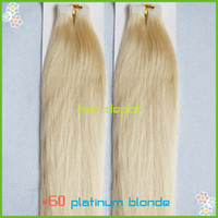 Wholesale quot Tape Human Hair Extensions platinum blonde g silky Straight Remy Skin Weft Hair Extensions TipTop free ChinaPost