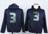 Wholesale American Football bHooded Sweatshirts Navy Blue Quarterback Russell Wilsons Pullover Hoodies High Quality Cheap Stitched Sweaters