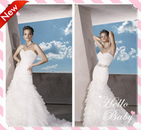 A-Line Reference Images Sweetheart Real Model Chiffon Mermaid Wedding Dress Sweetheart Pleats With A Detachable Beaded Sash Tiered Ruffles Open Back Bridal Dresses Gown 2014