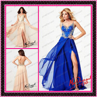 Wholesale 2014 Nude Sexy Sheer Backless Prom Dresses Crystals Beaded Peach Royal Blue Chiffon A Line Thigh Slit Spaghetti Wedding Evening Party Gowns