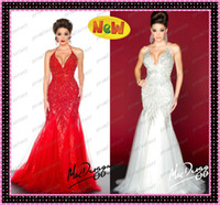 Wholesale Arabic Luxury Hot Red Tulle Mermaid Wedding Evening Dresses Free Fast Shipping Shimmering Crystals Beaded White Party Prom Gowns Sale